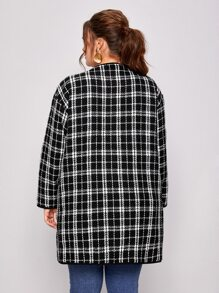 Plus Plaid Open Front Tweed Coat