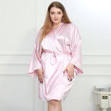 Plus Satin Belted Drop Shoulder Solid Robe