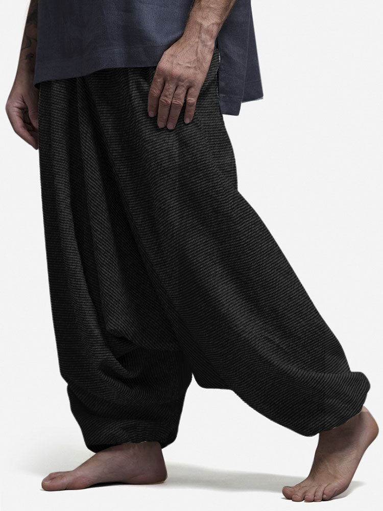 Mens SolidColor Loose Casual Home Elastic Waist Low Crotch Harem Pants