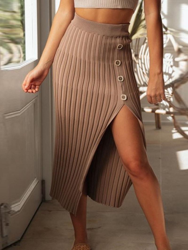 Ericdress Button Plain Mid-Calf Date Night High Waist Skirt