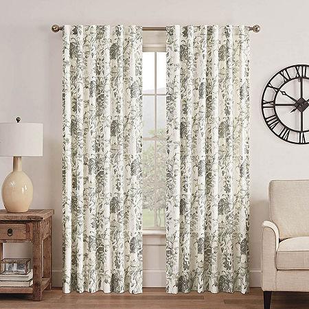 Waverly Kensington Bloom Light-Filtering Back-Tab Single Curtain Panel, One Size , Gray