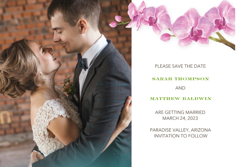 Save the Date 5x7 Cards, Premium Cardstock 120lb with Rounded Corners, Card & Stationery -Wedding Save the Date Orchids by Tumbalina