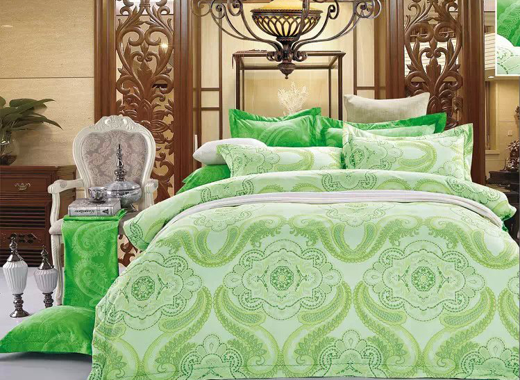 Turquoise Paisley Flower Print 4-Piece Polyester Duvet Cover/Bedding Sets