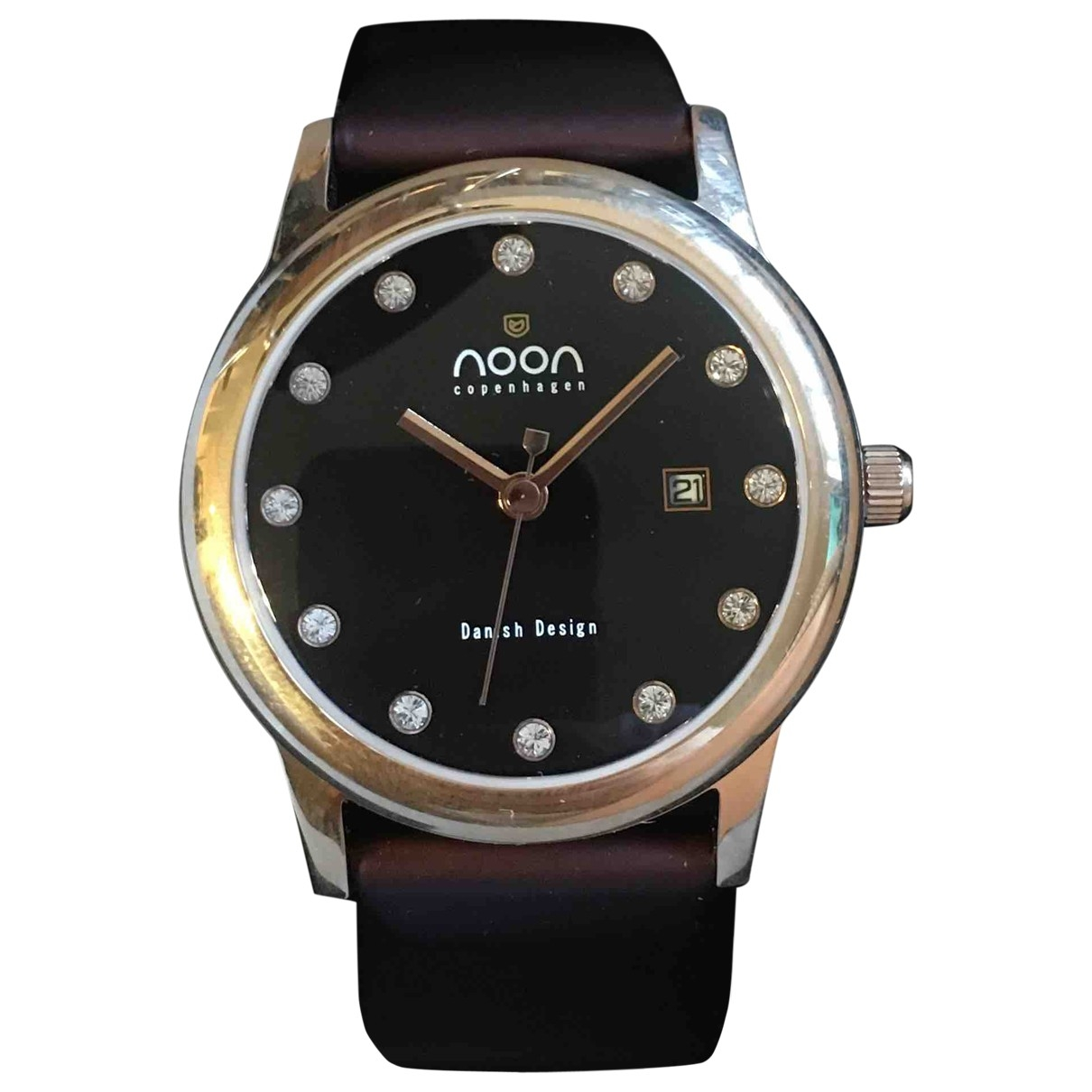 Non Signé / Unsigned \N Burgundy Steel watch for Women \N