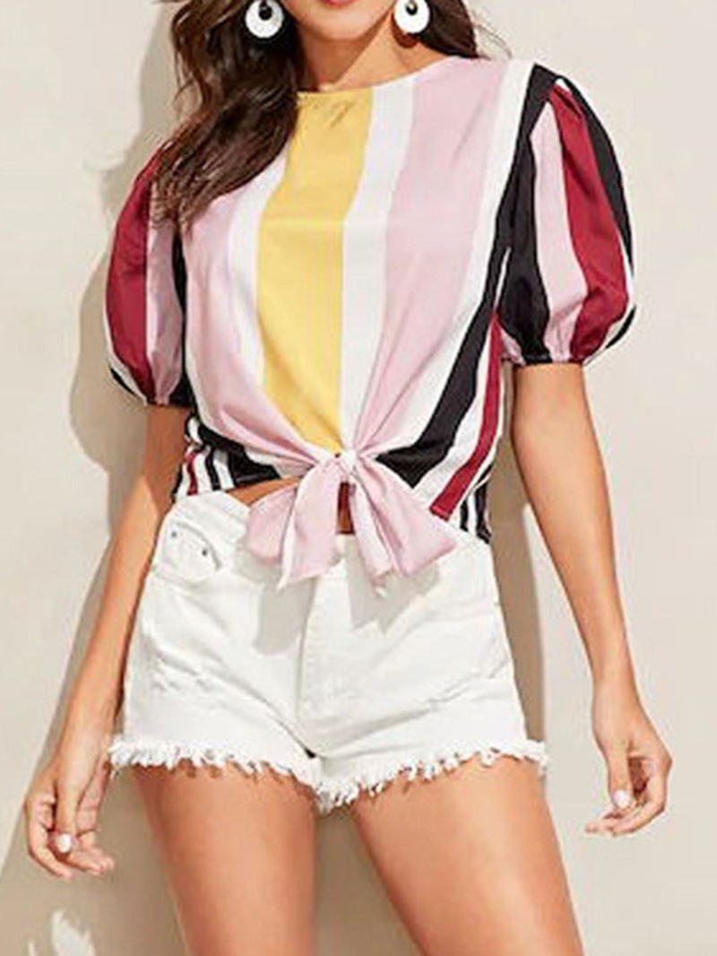 Ericdress Round Neck Stripe Short Sleeve Bowkont Casual Blouse