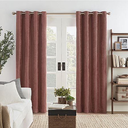 Eclipse Ambiance Draft Stopper Energy Saving 100% Blackout Grommet-Top Single Curtain Panel, One Size , Pink