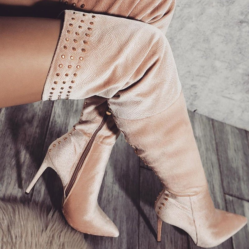 Ericdress Pointed Toe Stiletto Heel Customized Knee High Boots