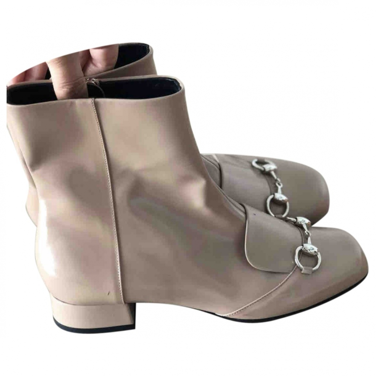 Gucci \N Beige Patent leather Ankle boots for Women 37.5 EU