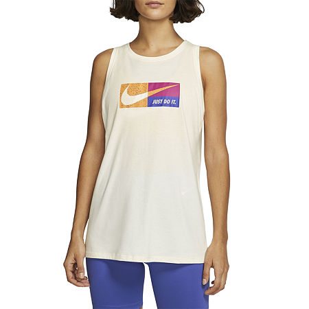 Nike Womens Round Neck Sleeveless Tank Top, X-large , White