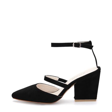 Yoins Black Pointed Toe Single Strap Over Ladies Heels