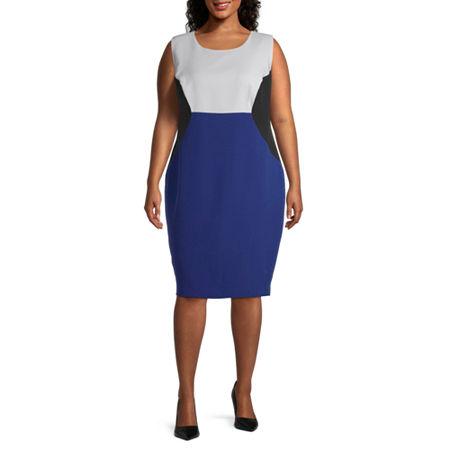 Black Label by Evan-Picone-Plus Sleeveless Sheath Dress, 18w , Blue