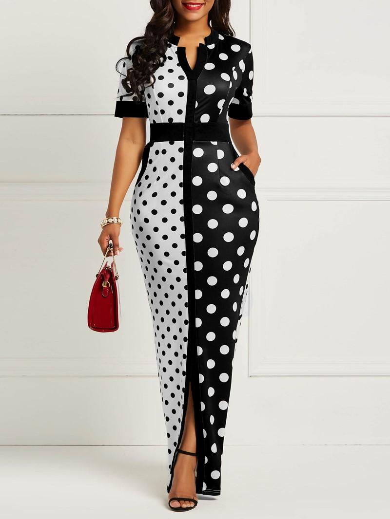Ericdress Bodycon Polka Dots Color Block Women's Dress