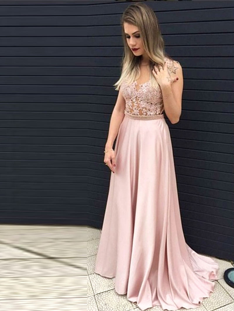 Ericdress A-Line Pearl Applique Evening Dress With Court Train