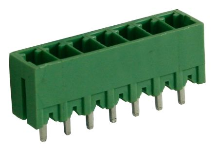 RS PRO , 7 Way, 1 Row, Vertical PCB Terminal Block Header (10)