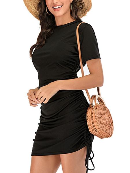 Milanoo Ruched Bodycon Dresses Short Sleeves Jewel Neck Drawstring Midi Dress