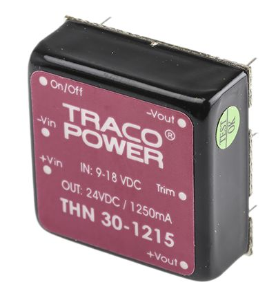 TRACOPOWER THN 30 30W Isolated DC-DC Converter Through Hole, Voltage in 9 → 18 V dc, Voltage out 24V dc