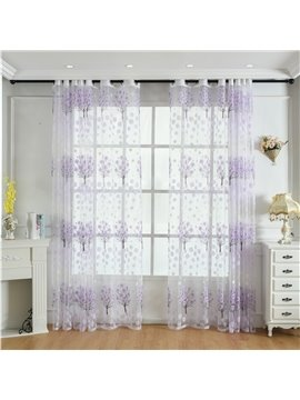 Floral Decoration Pastoral Sheer Curtains for Living Room Bedroom 30% Shading Rate No Pilling No Fading No off-lining