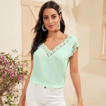 Double V-Neck Embroidery Mesh Trim Top