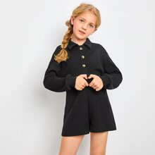 Girls Drop Shoulder Button Front Rib-knit Romper