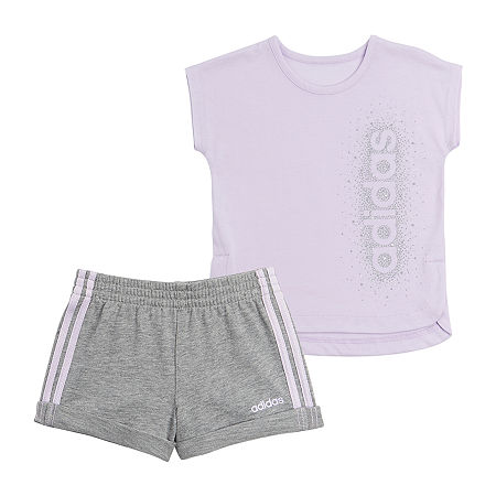 adidas Baby Girls 2-pc. Short Set, 6 Months , Purple