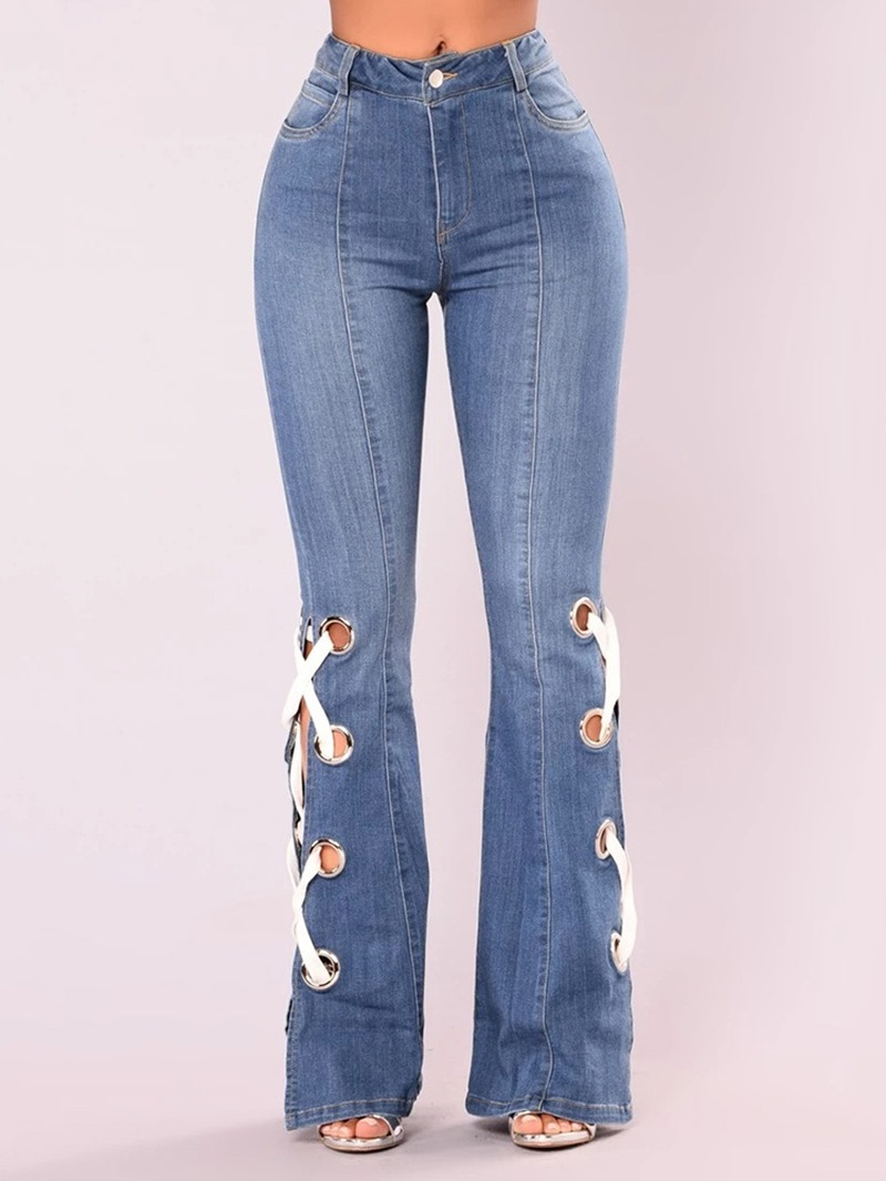 Ericdress Bellbottoms Hole Slim Jeans
