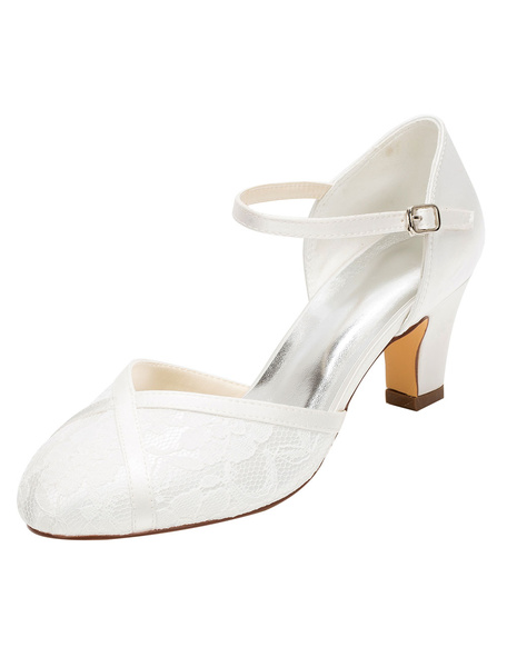 Milanoo Lace Wedding Shoes 2020 Ivory Round Ankle Strap Bridal Shoes Vintage Shoes