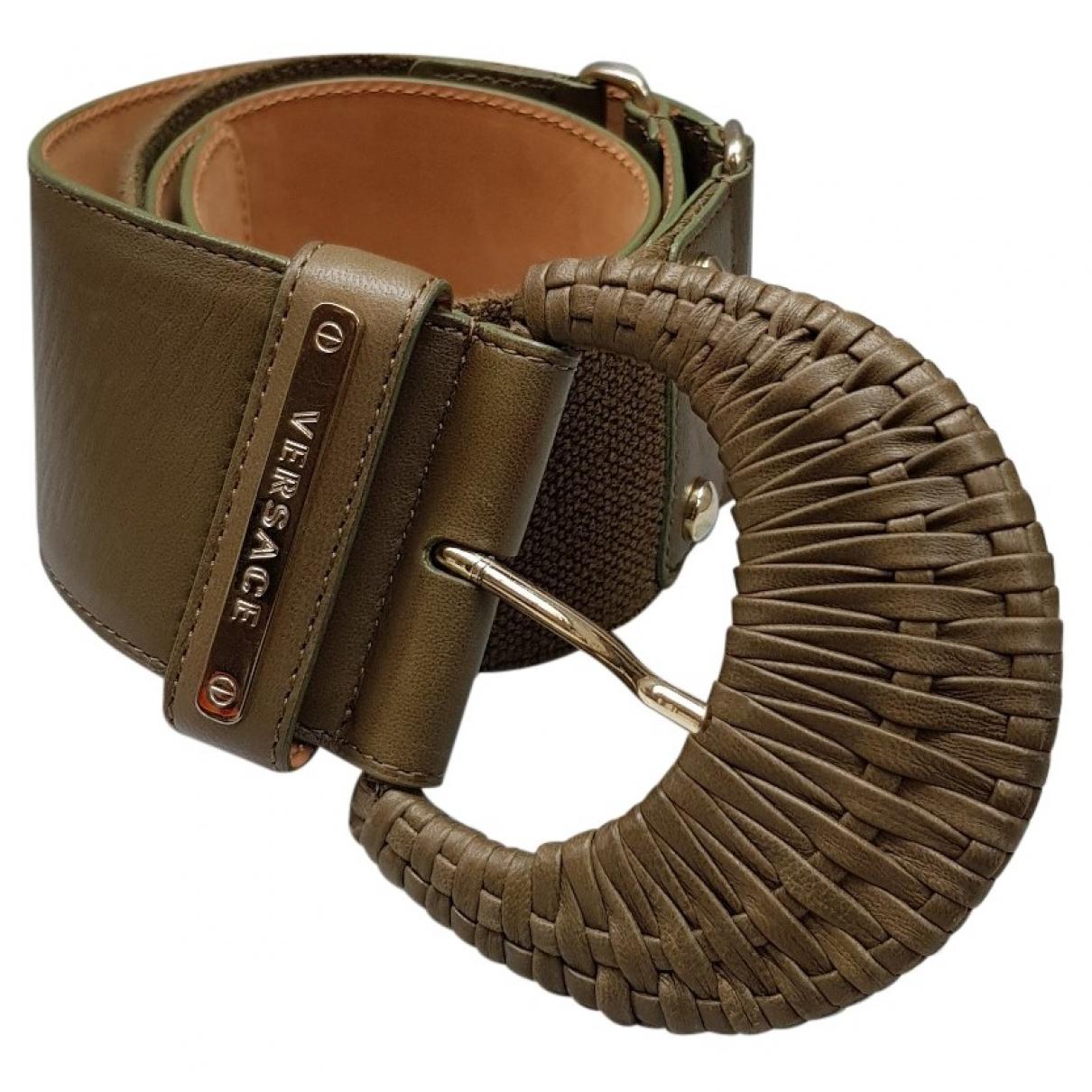 Versace \N Green Leather belt for Women 85 cm