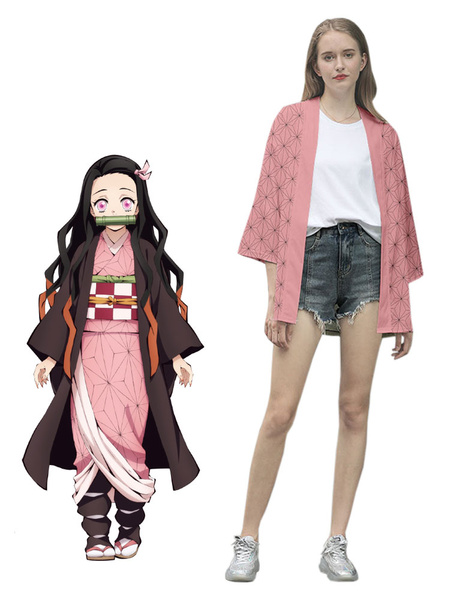 Milanoo Demon Slayer: Kimetsu No Yaiba Kamado Nezuko Kimono Only Anime Cosplay Costume