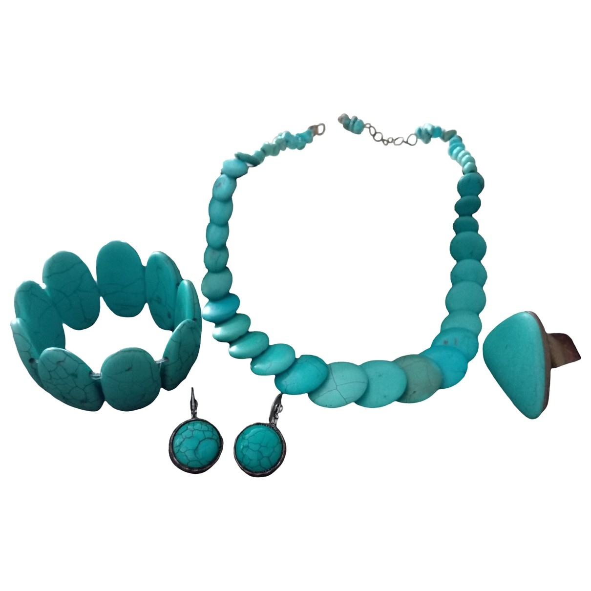 Non Signé / Unsigned Turquoises Turquoise Pearls Jewellery set for Women \N