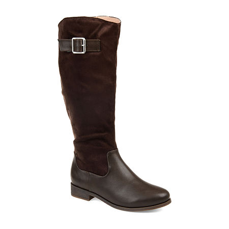 Journee Collection Womens Frenchy Stacked Heel Zip Riding Boots, 5 1/2 Medium, Brown