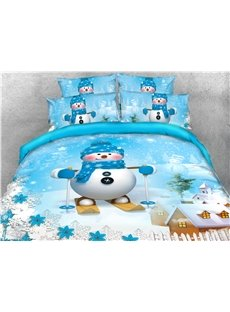 Snowman and Snow Covered House Snowflake Printed 4-Piece 3D Christmas Bedding Sets/Duvet Covers