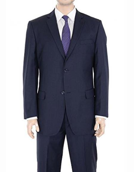 Mens Regular Fit Two Button Solid Wool Navy Blue Suit Flat Front Pants