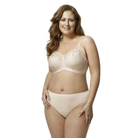 Elila Embroidered Microfiber Softcup Full Coverage Bra, G , Beige