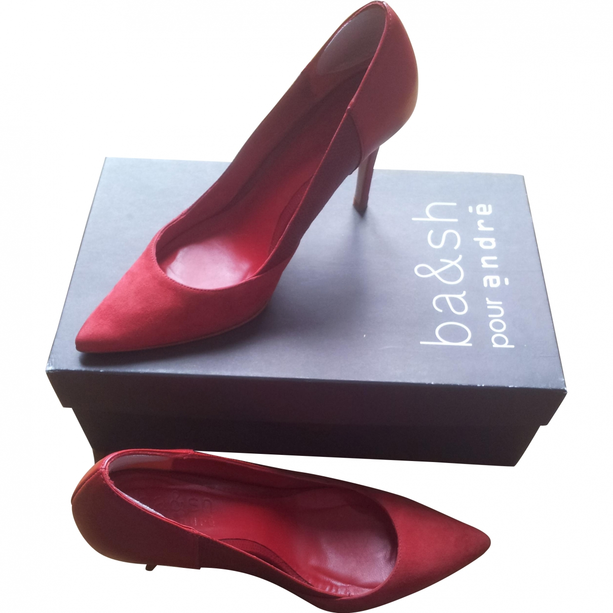 Ba&sh \N Red Leather Heels for Women 36 EU