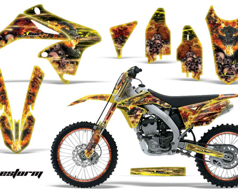 AMR Racing Graphics MX-NP-SUZ-RMZ250-10-16-FS Y Kit Decal Sticker Wrap + # Plates For Suzuki RMZ250 2010-2016áFIRESTORM YELLOW