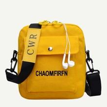 Men Pocket Front Canvas Crossbody Bag