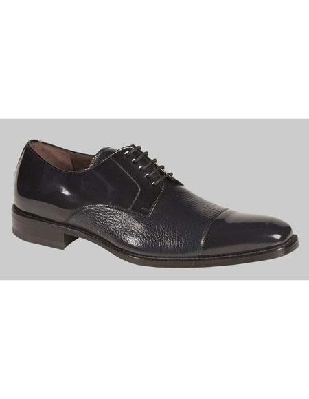 Mens Blue Lace Up Deer Skin Polish Cap Toe Oxford Leather Shoes Brand