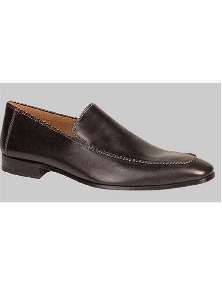 Men's Handmade Black Venetian Piped Trim Slip On Calfskin Shoe Brand