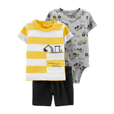 Carter's Baby Boys 3-pc. Short Set, 12 Months , Yellow