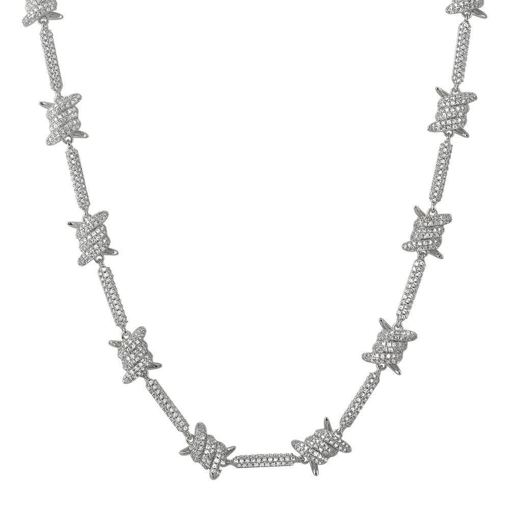 Barbed Wire Link CZ Iced Out Chain Bling