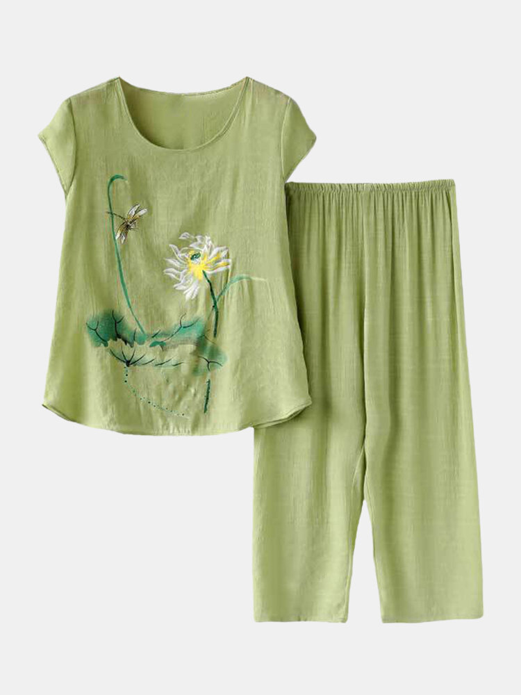 Plus Size Plants Print Pajamas Linen Softies Breathable O-Neck Summer Loungewear For Women