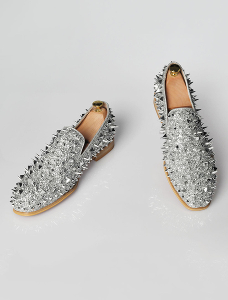 Milanoo Mens Silver Spike Loafers with Rivets Prom Shoes