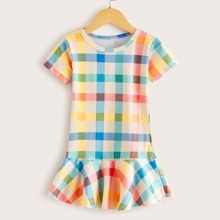 Toddler Girls Ruffle Hem Plaid Babydoll Dress