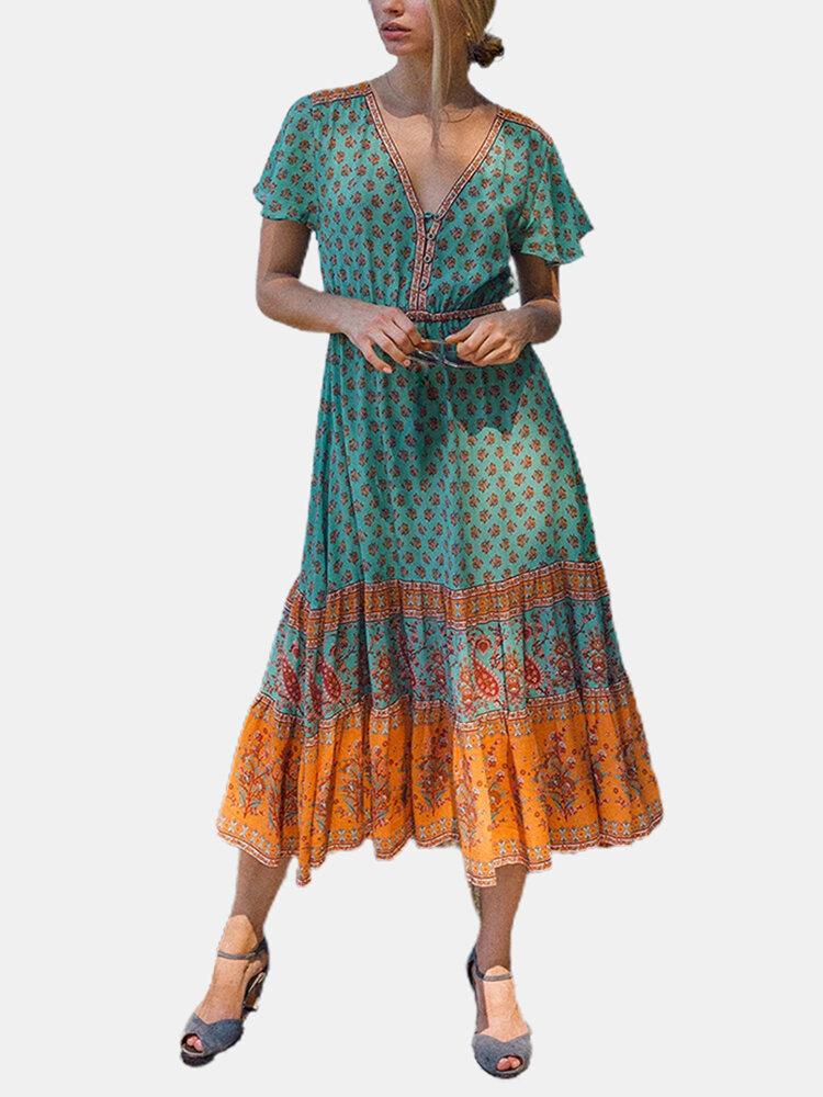 Vintage Print Short Sleeves V-neck Casual Dress