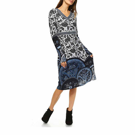 White Mark Naarah Embroidered Long Sleeve Sweater Dress, Small , Blue
