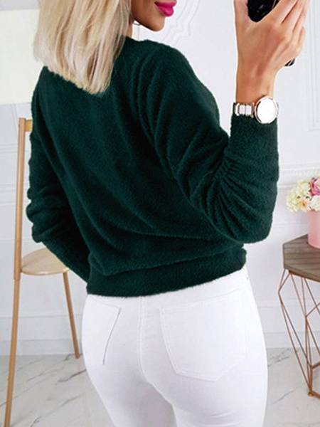 Milanoo Pullovers For Women Camel Knotted Jewel Neck Long Sleeves Knotted Velour Sweaters
