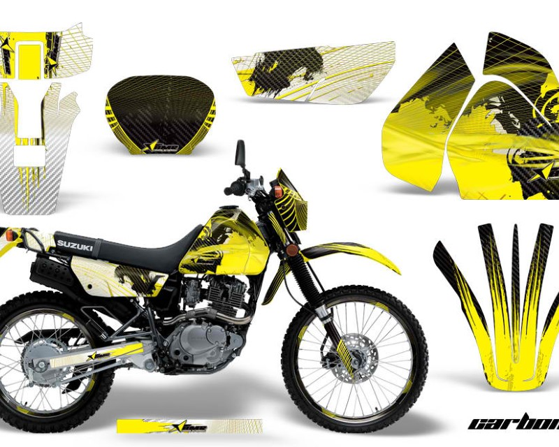 AMR Racing Graphics MX-NP-SUZ-DRZ200SE-96-09-CX Y Kit Decal Sticker Wrap + # Plates For Suzuki DRZ200SE 1996-2009áCARBONX YELLOW