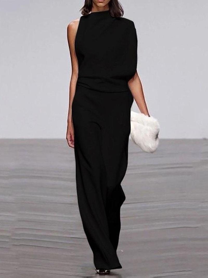 Ericdress Full Length Sweet Plain Slim Mid Waist Jumpsuit