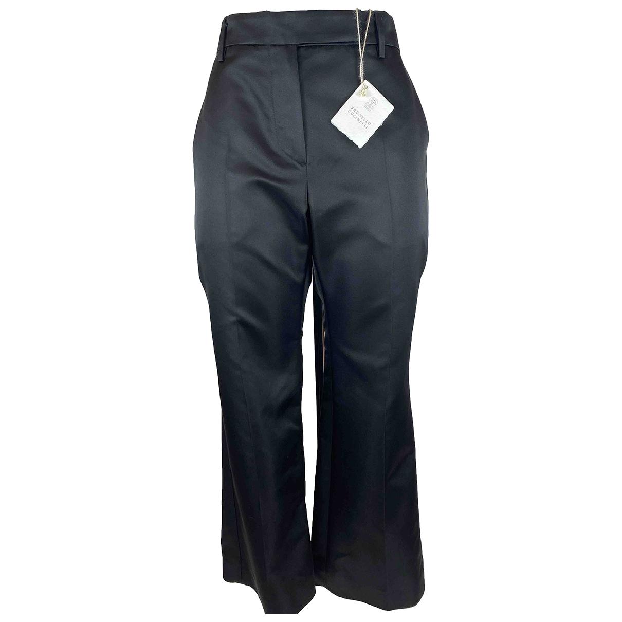 Brunello Cucinelli \N Black Silk Trousers for Women 42 IT