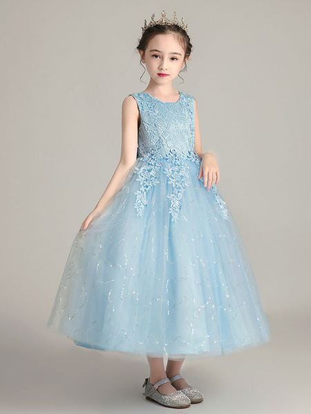 Milanoo Flower Girl Dresses Jewel Neck Polyester Sleeveless Ankle Length Ball Gown Bows Kids Party Dresses